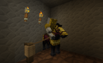 One of my friends in Minecraft. Both he and his horse wears golden armor.