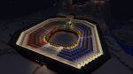 A semi-circular arena built in Minecraft, modeled after Roman arenas.