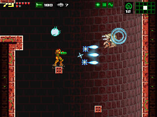 Samus Aran blasting a floating enemy with her Ice Beam power-up. Nice graphics!