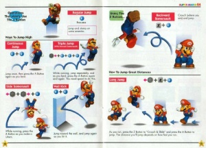 The manual for Super Mario 64 displays actions both with text and illustrations, to make sure everyone understands them.